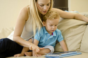 toddler reading together